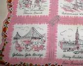 Vintage California Handkerchief Hankie Cotton Print 1950s 60s Historic Scenic San Francisco City Locations Souvenir Handkerchief Hanky