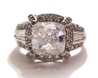 Vintage 14K WG 2.5ct Cushion Cut CZ Crystal Gemstone Statement Ring