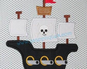 Pirate Ship Embroidery Applique Design Buccaneer Ship Appliques 5x7, 6x10 hoop - Instant Download