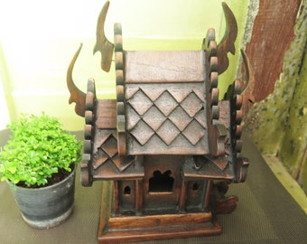 Medium Thai Teak Wood Wooden Spirit House Handmade Altar Temple Craft Buddhist Buddhism Buddha Hight 9.8 Inches Shrine Gift Hand Craft Made