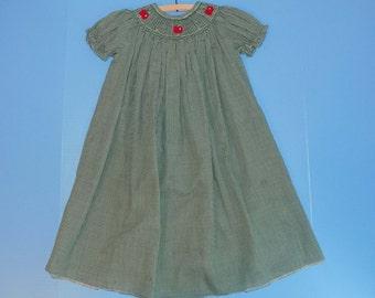 Sz. 9 mo. Bishop Smocked Gingham Dress