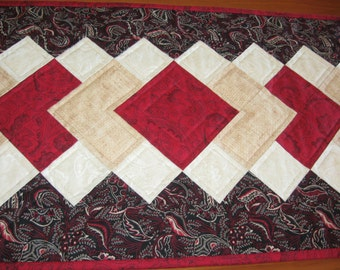 Quilted Table Runner, Black, Red, Cream Paisleys