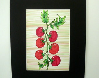 Fruit and vegetable art, Kitchen wall art, Original Pen and Ink drawing,Tomatoes on vine with colorful details. 8x10 matted original art.