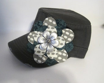 Grey Cadet Military Distressed Petal Hat with a Turquoise Grey Ivory Flower  Choose your embellishment