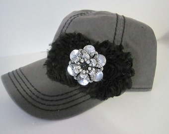 Charcoal Grey Trucker Baseball Cap with Black Stitching and Black Chiffon Flowers Choose With or Without Embellishment