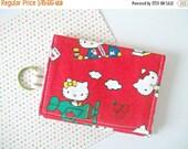BACK 2 SCHOOL SALE Hello Kitty Kawaii Wallet -  Business Card Holder - Keychain Wallet - Kawaii Fabric