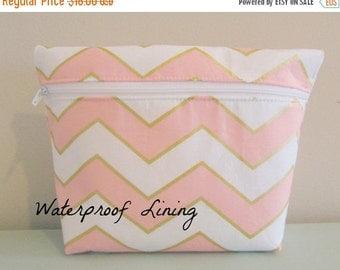 BACK 2 SCHOOL SALE Chevron Makeup Bag - Glitz Fabric -  Cosmetic Bag - Waterproof Bag - Wet Bag