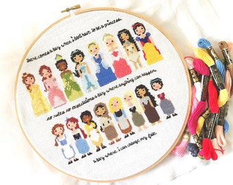 Disney Princess Pixel People Cross Stitch Pattern - Girls Cross Stitch - Easy Cross Stitch Pdf