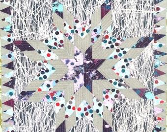 HURRY FLASH SALE Star Quilt - Modern Quilt - Linen Quilt - Wall Hanging