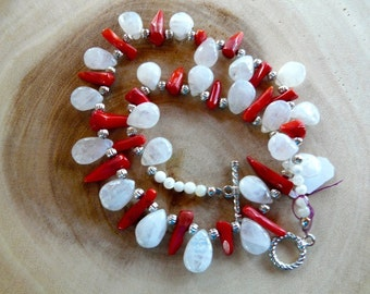 SALE!  17 Inch Red Coral and Quartz Crystal Teardrop Necklace with Earrings