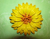 RESERved RESERved Karin Vintage Yellow With Orange Center Enamel Flower Brooch Pin