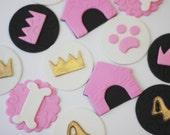 Fondant Puppy Cupcake Toppers - Fondant Dog Toppers - Fondant Princess Toppers - Puppy Invitation - Princess Party - Princess Invitation