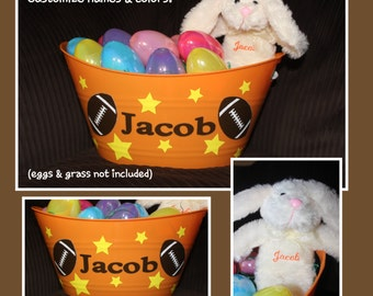 Personalized Easter Basket AND Bunny - FOOTBALL