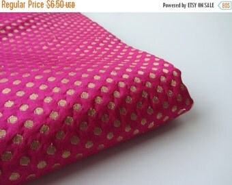 ON SALE Pink gold polka dot silk brocade fabric nr 715 - 1/4 yard | fat quarter