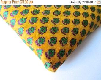 ON SALE Yellow green flower silk brocade India tie silk fabric nr 89 fat quarter