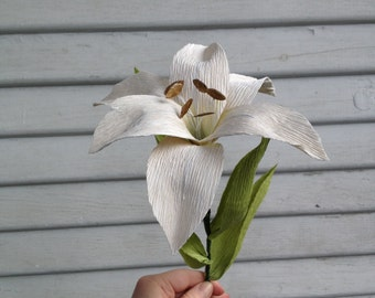 Day Lily- Paper flower, crepe paper lily, white lilies, anniversary gift, birthday flowers, home decor, wedding flowers, white day lily