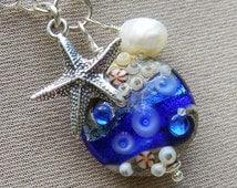 The Deep Blue Sea - Dainty Beach Boho Layering Necklace - Lampwork Ocean Necklace