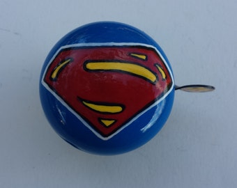 superman bicycle bell hand painted marvel comics unique bicycle art bike accessories urban bike trails super hero cycling gift cyclist