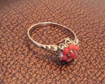 Coral Cluster Ring, 9K Gold, Victorian Vintage Jewelry, SUMMER SALE