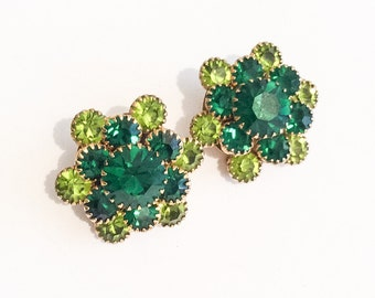 Green Rhinestone Earrings, Two Tone, Clip Ons, 1960s Vintage Jewelry, SUMMER SALE