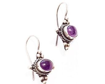 Amethyst Earrings, Sterling Silver, Vintage Jewelry, SUMMER SALE