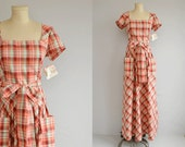 Vintage 70s Maxi Dress / 1970s Albert Nipon Wrap Dress Plaid Bias Cut / NOSWT Designer Dress