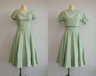 Vintage 1950s Dress / 50s Mint Green Wool Dress with Circle Skirt and Bolero Jacket