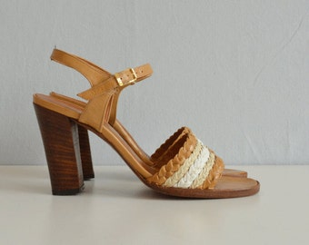 Vintage 70s Shoes / 1970s Palizzio Braided Leather High Heel Sandals / Size 7 Made in Spain New Old Stock NOS