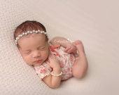 ON SALE- Purley Pearl Newborn Headband, Newborn Photography Prop, Newborn Headband