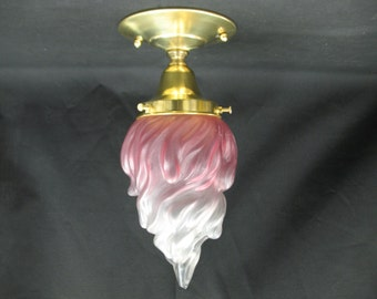 "0483 Antique Pink Shaded Flame Glass Globe 3 1/4"" Fitter"