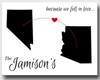 Because We Fell in Love Canvas - Personalized and add states!