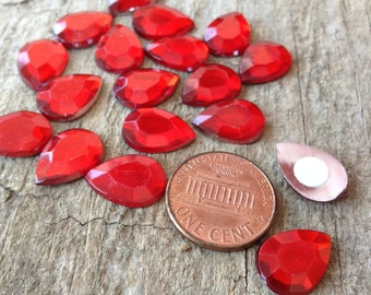 18pc 14x10mm Red Teardrop Cabochons, Cabochon Stickers, Glue On Cabochon, Kawaii, DIY, Craft Supplies, Jewelry Supplies