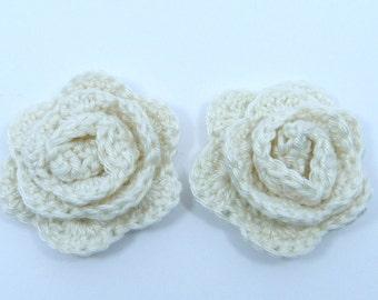 Crochet appliques, crochet flowers, 2 small crochet roses, cardmaking, scrapbooking, appliques, craft embellishments, sewing accessories.