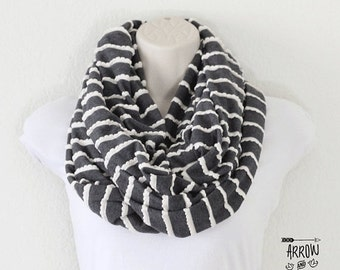 ON SALE Gray with white trim infinity scarf, circle scarf, loop scarf, double wrap scarf