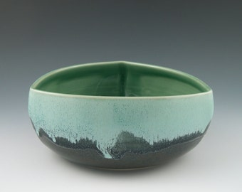 Serving Bowl Triangular in Aqua and Dark Blue Handmade Pottery
