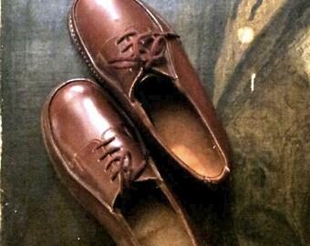 Ancien chaussures enfant en cuir  FRANCE