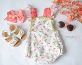 """Flamingo Vintage Bubble Romper - """"Be a Flamingo"""" Romper - Baby Beach Outfit - Tropical Baby Outfit - Tropical Flamingo Romper"""