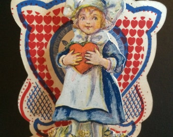 Antique Valentine Greeting Card, Dutch Girl with Tulips Stand-Up Card, ca. 1919