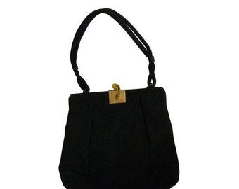 Vintage Black Suede Bienen-Davis Handbag