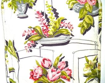 Vintage 40s bark cloth fabric pillow cushion cover floral design flower motif barkcloth plants pillow case