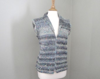 Women's Knit Vest, Shawl Collar Vest, Gray Ombre Stripes, Zip Up Vest, S M L, Cozy Wool Vest, Sleeveless Cardigan