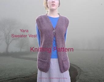 Long Sweater Vest Knitting Pattern, Intermediate Knit, Worsted Aran Yarn, Pockets, V Neck, Single Button