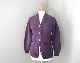 Shawl Collar Cardigan Sweater, Purple, S M, Button Up, Pockets, Winter Cozy Fashion, Hand Knit