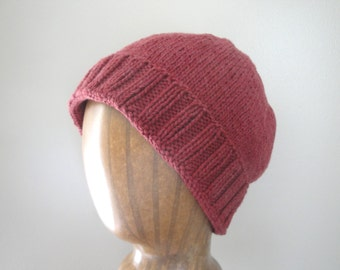 Cotton Knit Hat, Men & Women, Light Weight, Slouch Hat, Beanie Hat, Cool Hat, Dull Red