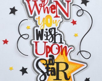 CraftECafe Wish Upon a Star Title Premade Scrapbook Page Layout Disney