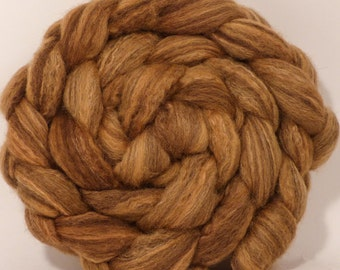 Natural Hand dyed bfl / silk top for spinning  - Chestnut - (4.2 oz.) Mixed Bluefaced Leicester/tussah silk (75/25)
