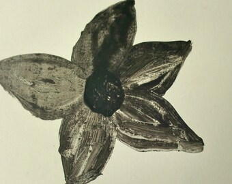 Minimalistic Black and White Flower on a Postcard P959