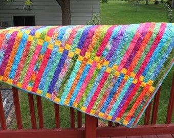 Lap Quilt- My Deck Chairs- Bright Batiks- Minky Backing