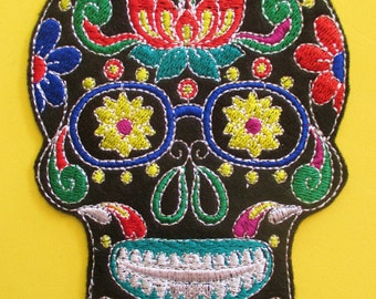 No. 5 Large Embroidered Sugar Skull Applique Patch, Iron On, Sew On, Biker Patch, Tattoo, Day of the Dead, Dai de los Muertos, Mexico Skull