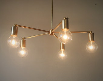 Adjustable 5 Arm Bare Bulb Brass Chandelier - 2-in-1 Mid Century Style Lighting